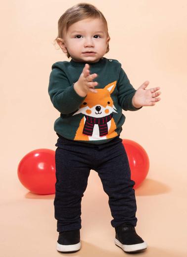 DeFacto Erkek Bebek Tilki Figürlü Düğme Detaylı Triko Kazak Yeşil